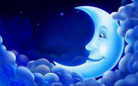 Demi lune souriante bleue